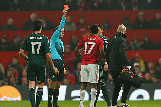 Red card Manchester United v Real Madrid - UEFA Champions League Round of 16