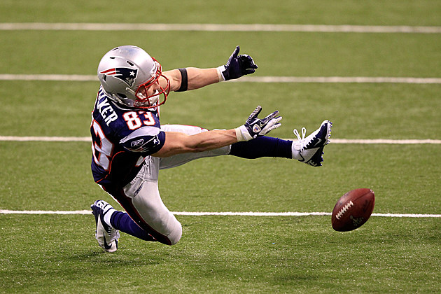 Wes Welker drops the ball in Super Bowl XLVI