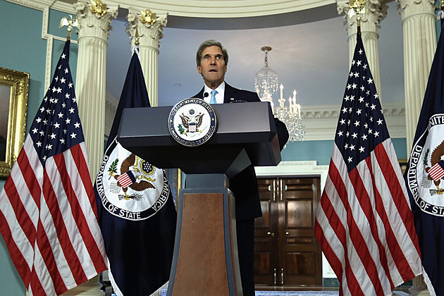 Secretary Of State John Kerry Speaks On Syria At The State Department