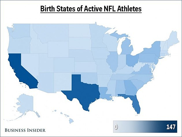 NFL players birth states
