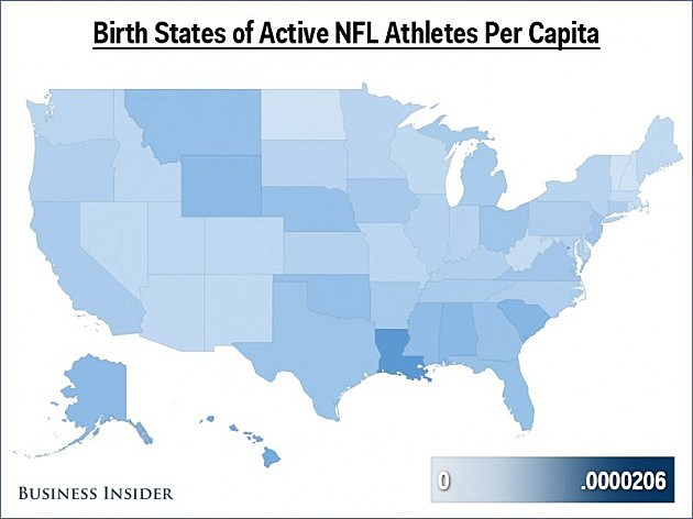 NFL players birth states per capita
