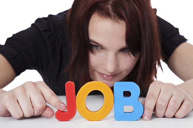 woman with job letters