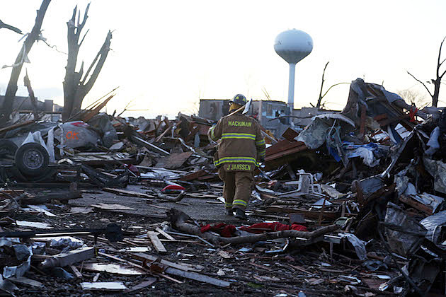 Washington, Illinois Firefighter Surveys Tornado Damage