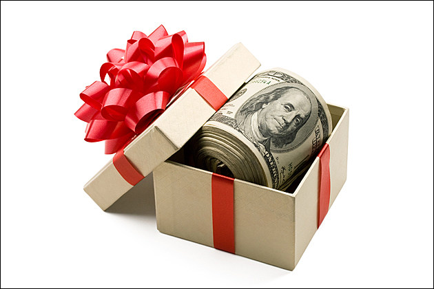 money in gift box